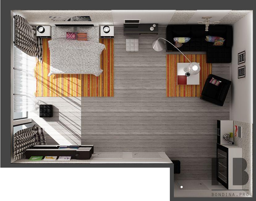 Проектирование спальни-гостиной