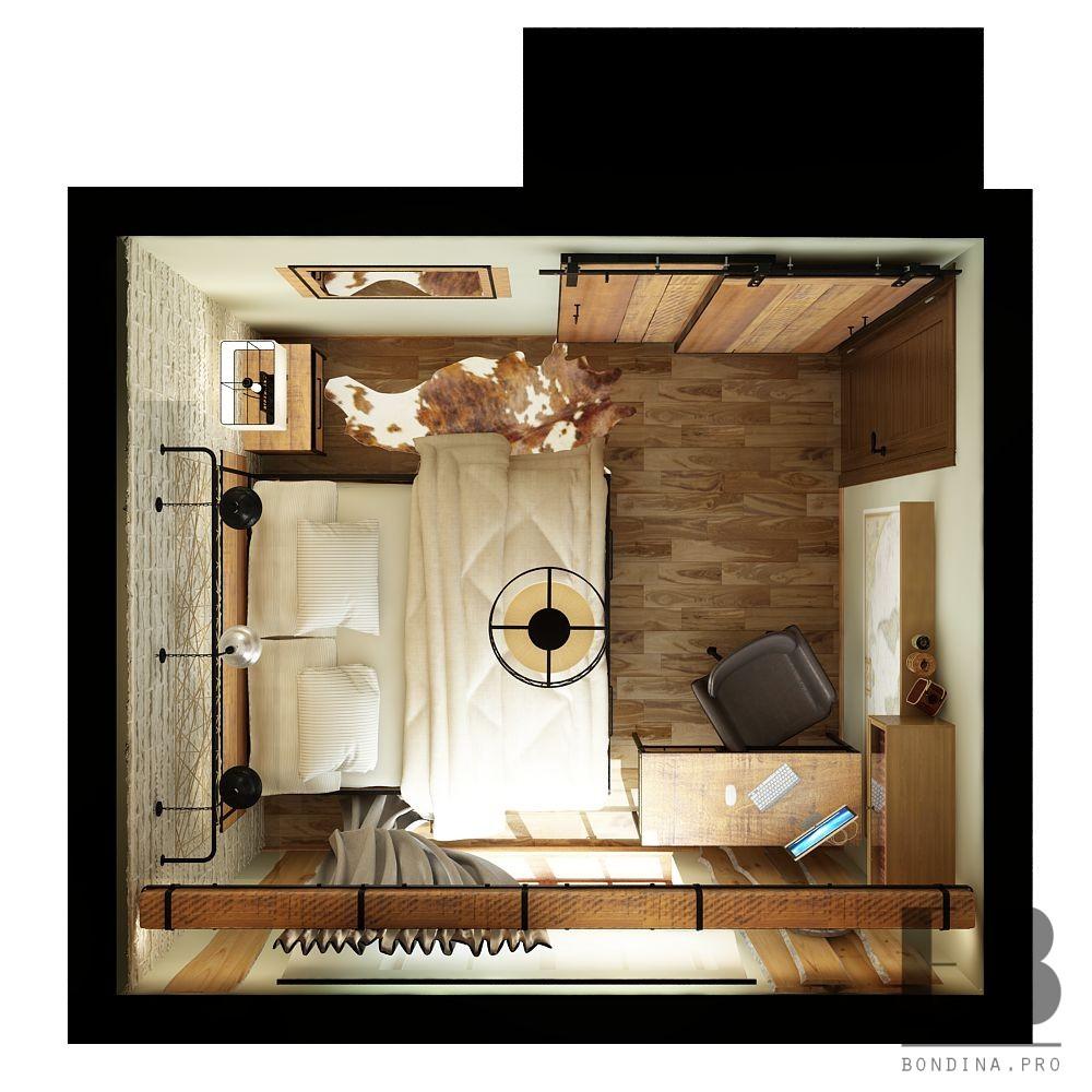 Проект спальни в стиле лофт