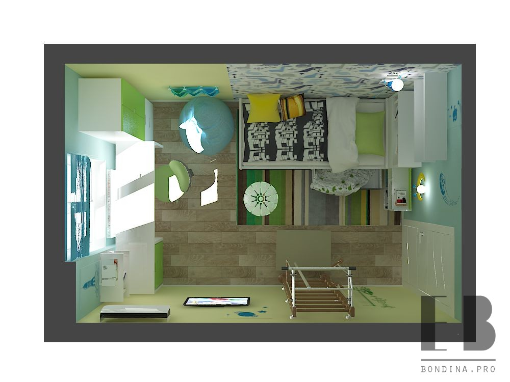 Design project of a Dinosaur themed children's room