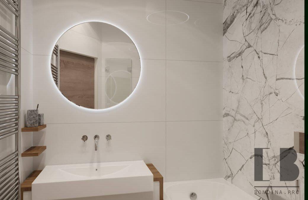 Интерьер ванной комнаты с мраморной плиткой