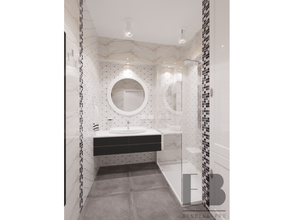 Бело черная ванная комната с зеркалом дизайн