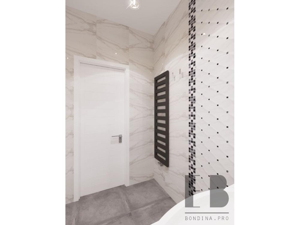 Просторная ванная в белых тонах дизайн